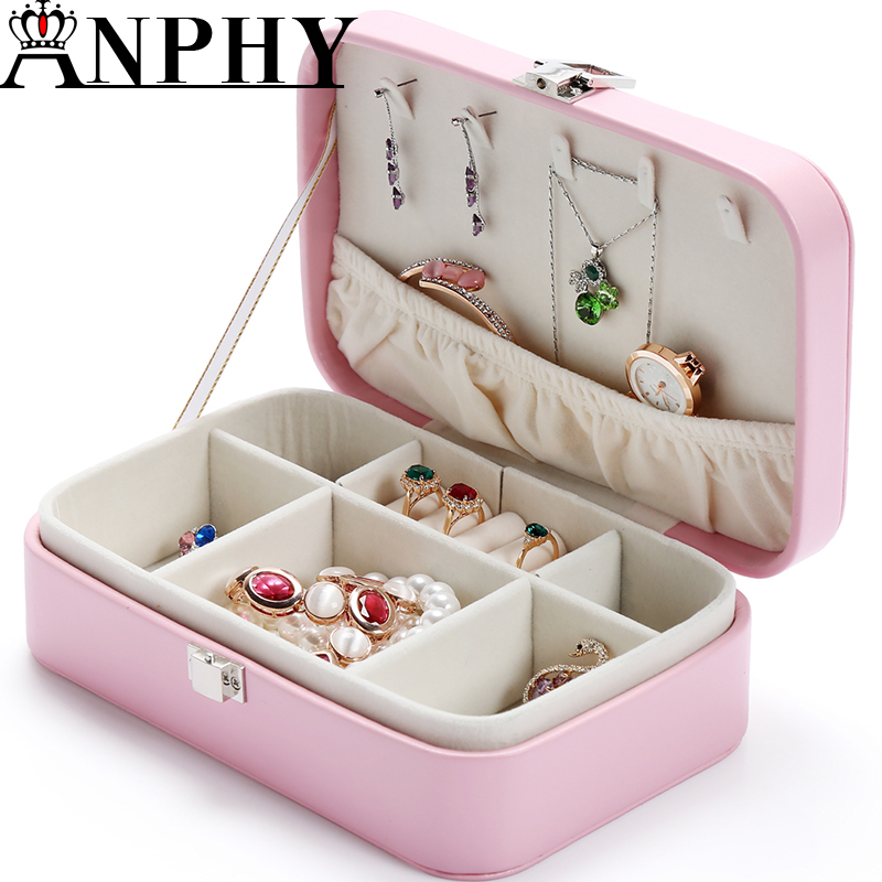 ANPHY C204 grids leather box jewelry storage box case jewelry gift box
