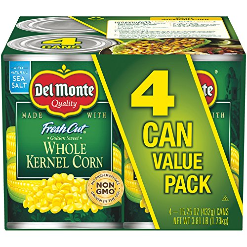 Del Monte Canned Fresh Cut Golden Sweet Whole Kernel Corn, 15.25 oz, 4 ct