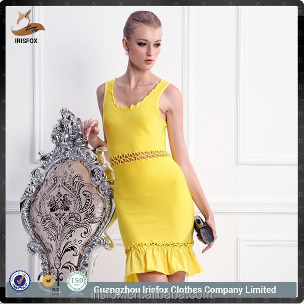 Gele strakke jurk