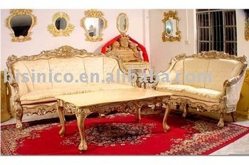 French Style Living Room Furniture, European Antique Sofa Sets, Three Seat  Sofa, Double