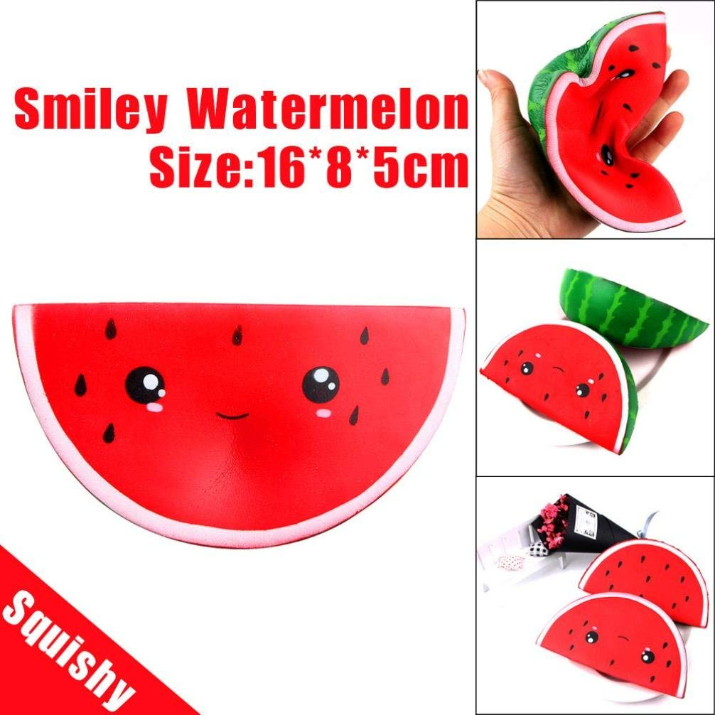 TOOPOOT Clearance Deals Squeeze Toys, Cute Smiley Watermelon Soft Squishy Stress Relief Cartoon Kids Toys (A)