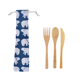 Hot Sale 2018 5pc Natural Bamboo Material Bamboo Cutlery Fork Spoon Knife Straw Chopsticks Set For Camping And Travel Lunch