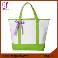 Fung 3013 Blank Bride Tote Bag with Color Trim And Pocket
