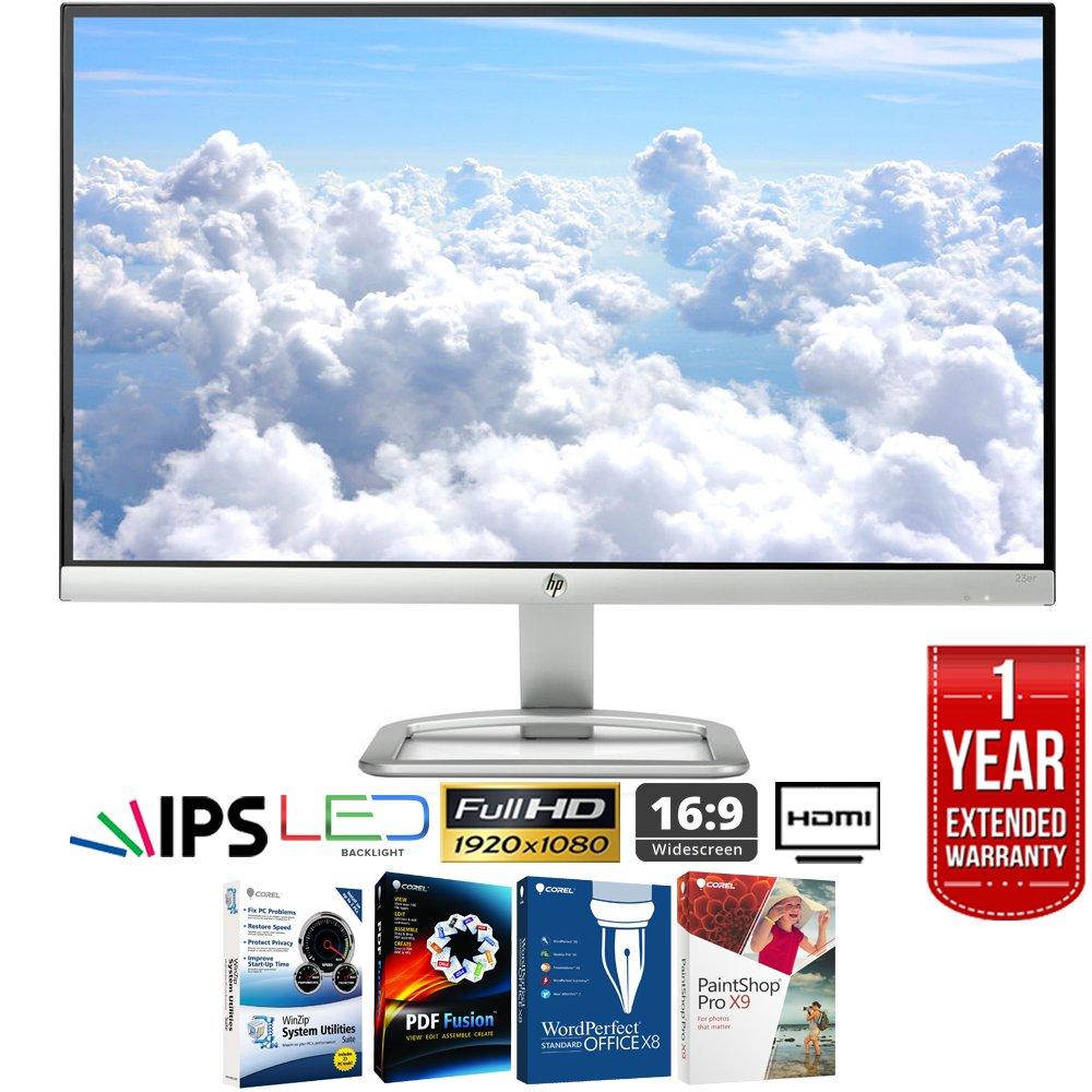 HP 23er 23-inch IPS LED Backlit Monitor 1920 x 1080 T3M76AA#ABA + Elite Suite 17 Standard Software Bundle (Corel WordPerfect, Winzip, PDF Fusion,X9) + 1 Year Extended Warranty
