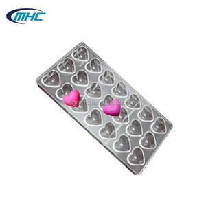 Food grade 3d heart PC chocolate mold for Valentine's Day