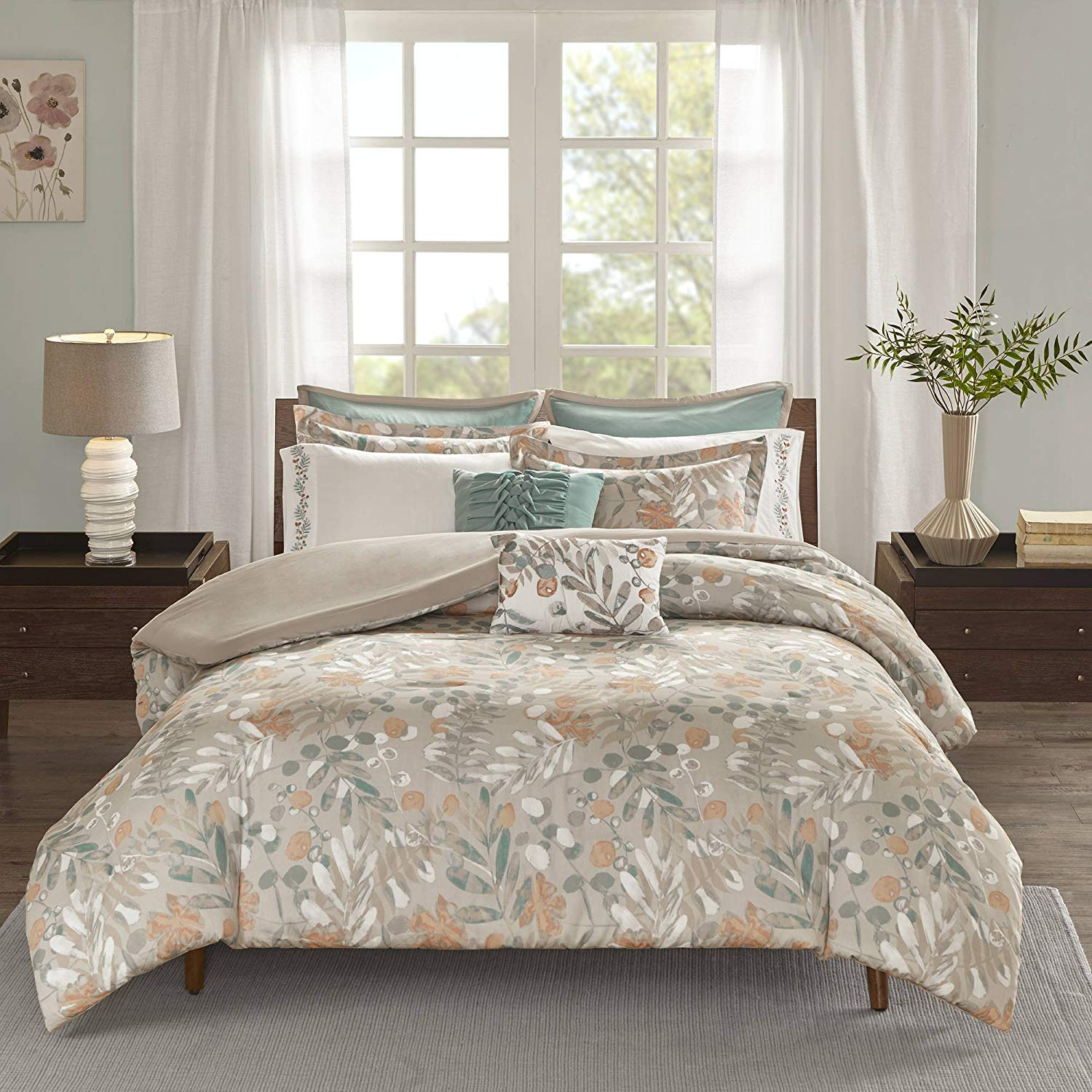 AD 9 Piece Orange Tan Floral King/Cal King Duvet Cover Set, Nature Fall Themed Bedding Flower Leaf Pattern Chic Botanical Print, Spice Hue Motif Outdoors Forest Cabin Lodge House, Sateen Cotton