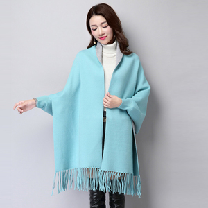 Ladies poncho long sleeve knit cardigan sweater coat for women