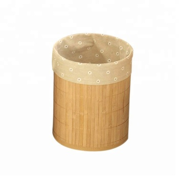 Bamboo Round Trash Can Wastebasket Small Garbage Container