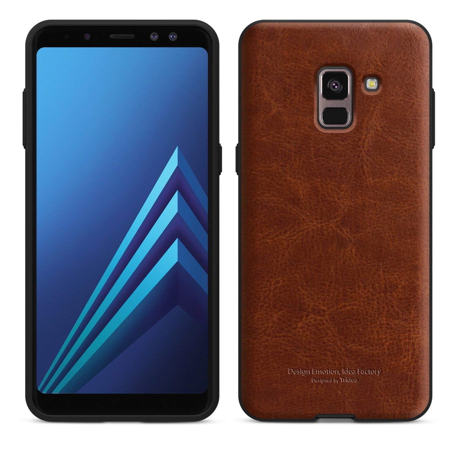 Galaxy A8 (2018) Case [Tridea] Power Guard Premium Synthetic Leather Bumper [Shock Resistant][Scratch-Resistant] Case for Samsung Galaxy A8 2018 [Brown]
