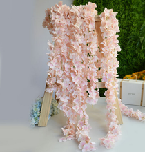 Customized size light pink silk artificial wisteria flowers for wedding