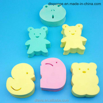 High quality soft lovely cartoon shape pva bath sponge facial cleaning sponge