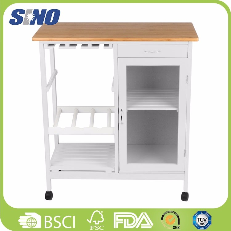 Bamboo Eco-friendly Outdoor Narrow Movable Kitchen Trolley