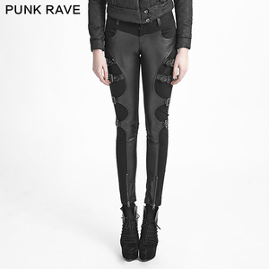 K-234 black winter sexy ladies fitted leather trousers with buckles