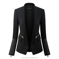 LB01 Newest Sexy Stylish Office Lady Clothing Slim Fit Woven Blazer With PU Leather Sleeves Fashion Clothing