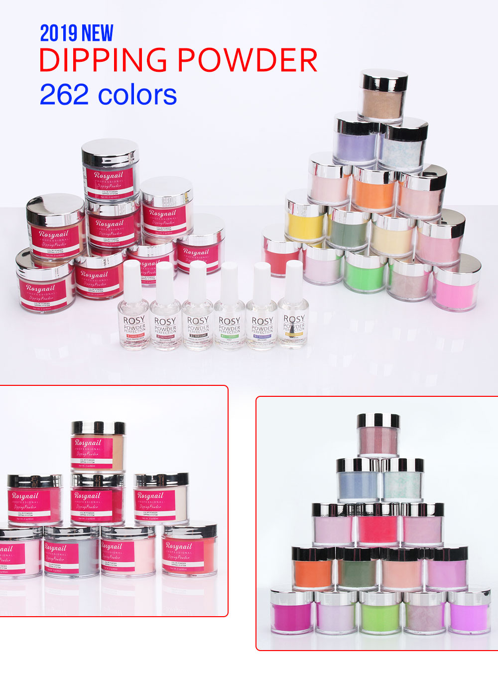 Factory  Wholesale Acrylic Nail Dipping Powder  with Natural Pink and White
