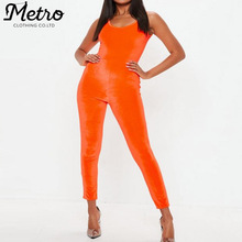 Custom activewear sexy vrouwen rompertjes sport spandex <span class=keywords><strong>oranje</strong></span> lange jumpsuits
