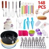 Custom Cake Decorating Supplies 148 PCS Complete Set Perfect Fondant Cake Baking Tools Kit Springform Pan Silicone Cupcake Molds