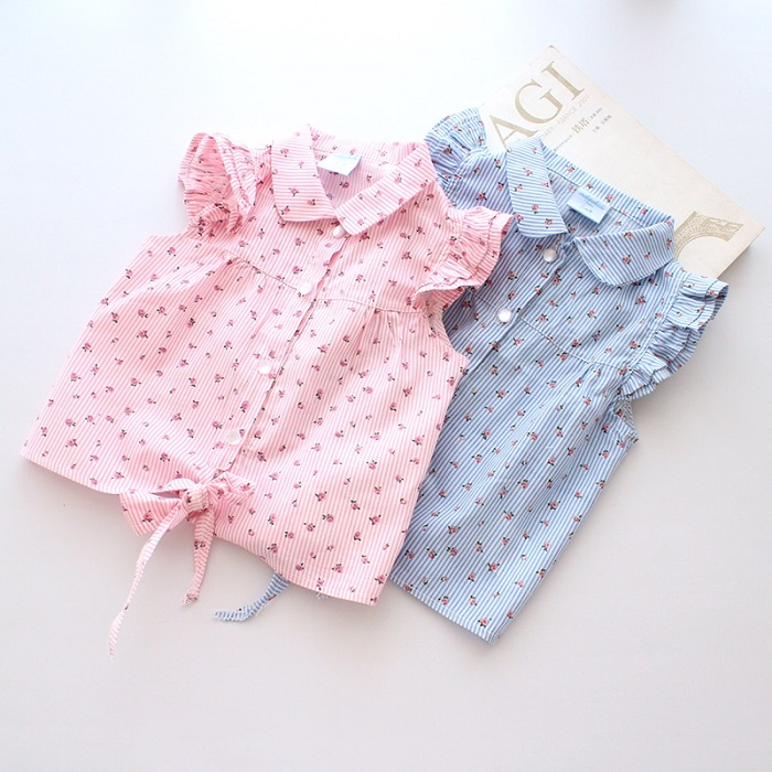 Hot New Spring Summer Baby Girl Blouses Kids Shirts Fantasy Children Shirt Casual Floral Cotton Clothing