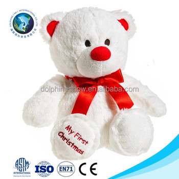 merry christmas gift ideas 2016 plush christmas white teddy bear promotional gift stuffed soft toy plush