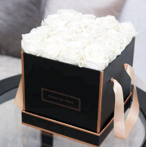 Rose gold trim black waterproof flower gift box/square flower box