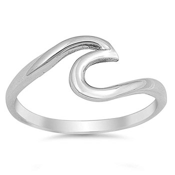 925 sterling silver wave design simple plain ring