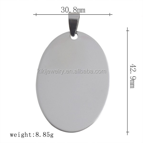 Nickle Free Lead Free Free Shipping 316L Stainless Steel Dog Tag Custom Engraved Blank Oval Shape <strong>Pendant</strong> With Bail Clasp