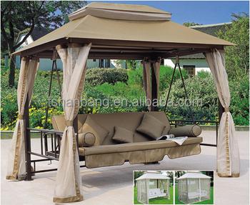 Luxury Outdoor Patio Gazebo Reclining Swing Bed