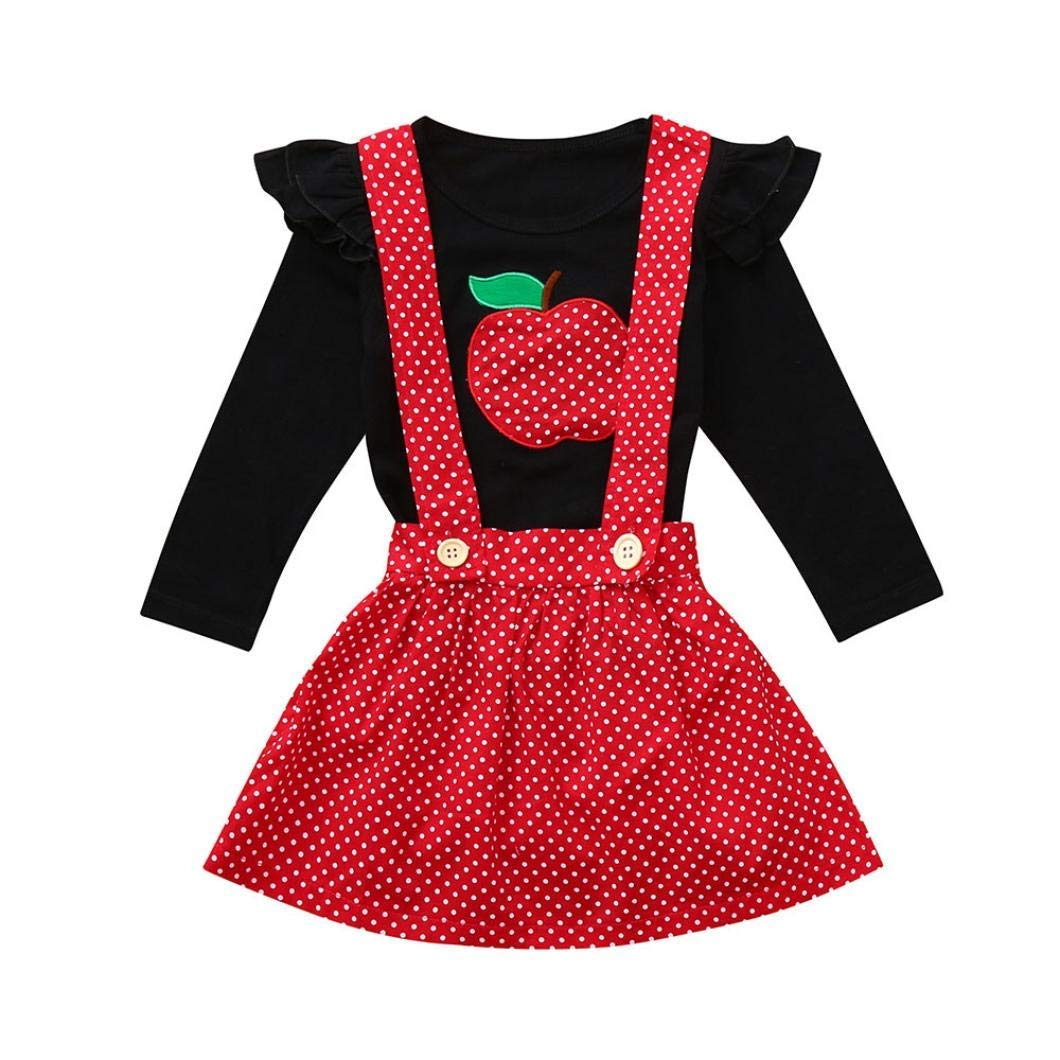 81d9b09c4a38 Get Quotations · Hunzed Toddler Infant Baby Girls Outfits Set, Fruit Ruched  Tops Strap Dot Print Skirt