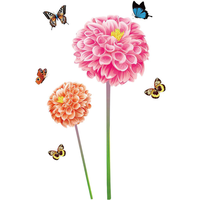 Fresh Nature 3D Flower Butterfly Wall Sticker Decal Romantic Art Home Decor decoration maison Smile