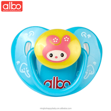 albo brand new arrival BPA free heart style funny baby teether silicone nipple pacifier