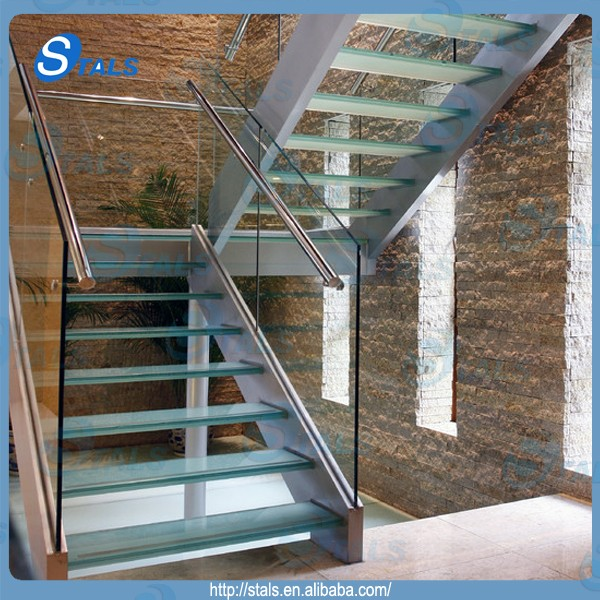 Interior Curved Stair With Stainless Steel Stringer Glass