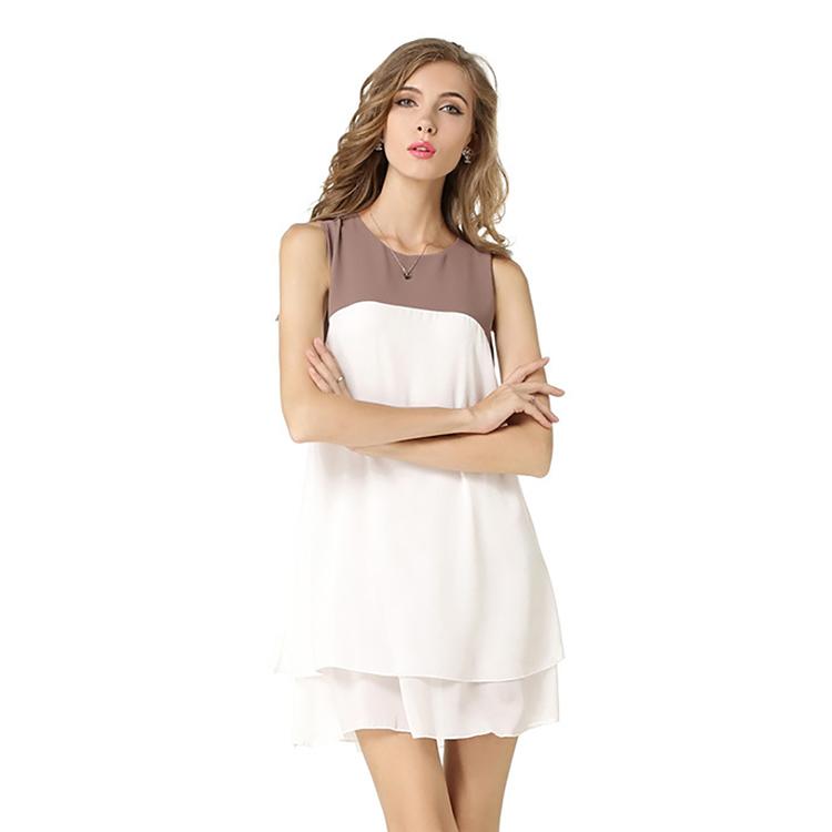 fc4056d6638 Новый стиль Дешевые шить цвет Нерегулярные шифон без рукавов женщина платье