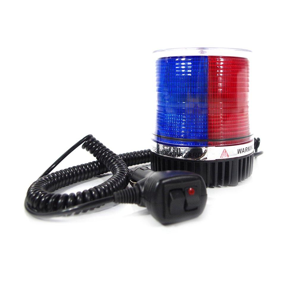 Xprite Red Blue Rotating Revolving LED Beacon Strobe Light, with Magnetic Mount, 12LEDs Emergency Warning Caution Flashing Light for Snow Plow Truck UTV 12v Vehicle