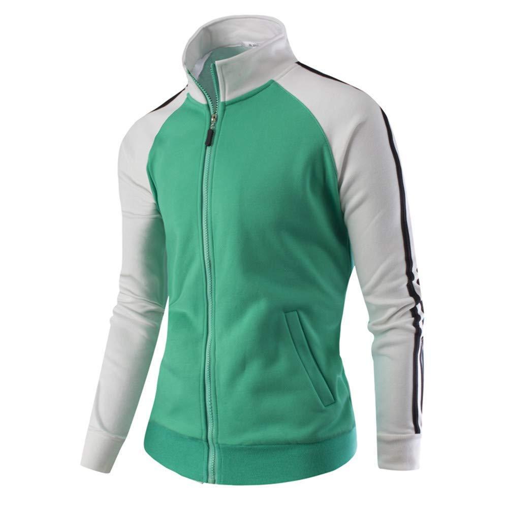 Mens Sport Jacket,Winter Striped Full Zipper Sweater Outwear Stand Neck Jumper Coat Top Zulmaliu