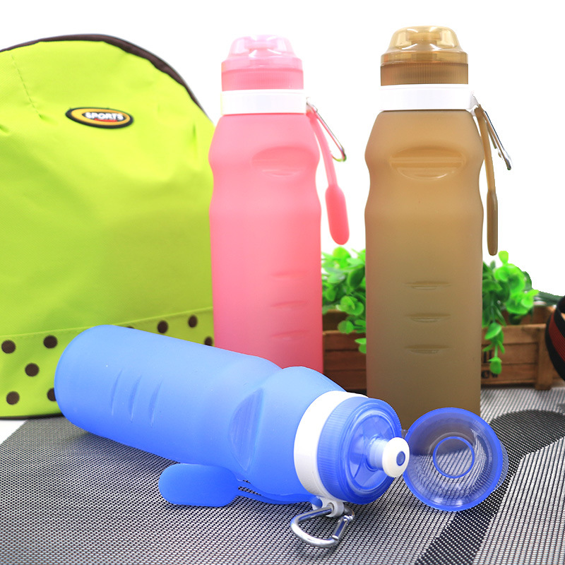 Outdoor camping bulk items durable mountain bicycles collapsible water bottle leakproof silicone folding water sports bottle
