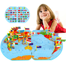 World map toy children awareness national flags three-dimensional puzzle educational toys