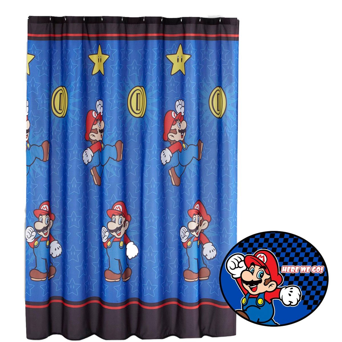2pc Super Mario Brothers Shower Curtain and Bath Mat Set Nintendo Simply the Best Bathroom Accessories