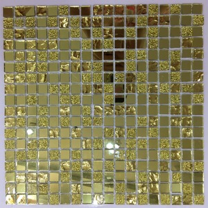 4mm gold mirror crystal mosaic glass tile