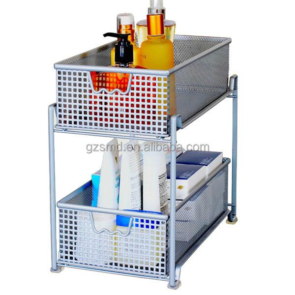 Kitchen 2 Tiers Metal Mesh Drawer Storage Cabinet