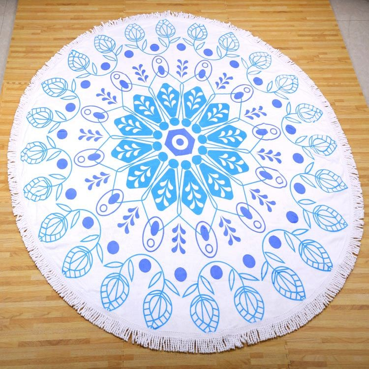 Indian Mandala Round Roundie Beach 100% cotton circle towels with low MOQ and packing box