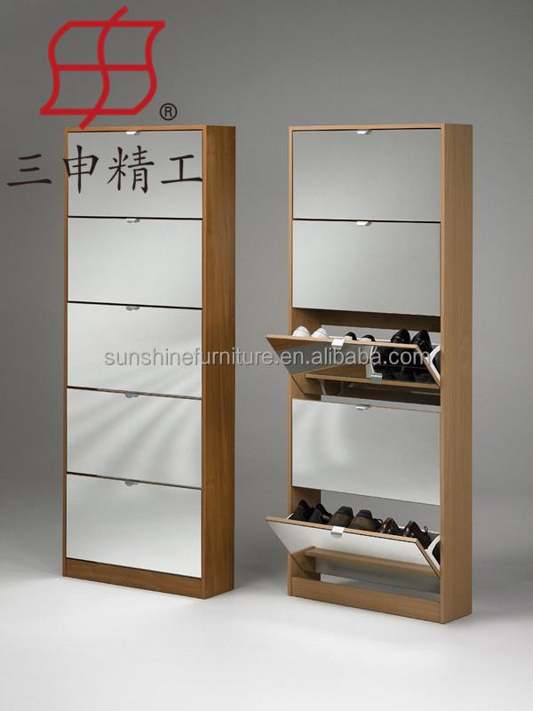 Wooden Shoe Storage Cabinet 3 Doors 5 Rack Diy Product On Alibaba