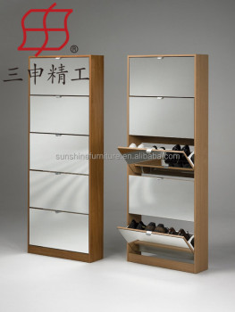Wooden Shoe Storage Cabinet 3 Doors 5 Rack