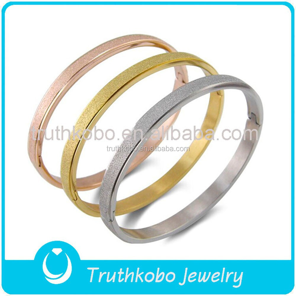 newest 2015 fashion bulk sale hot sale stainless steel PVD Plating three color Sandblast Finish open bangle OEM made in China