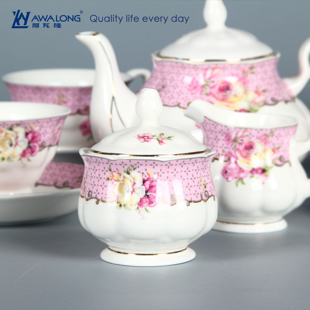 online sale home use high quality bone china teaware afternoon tea set with pot cup saucer milk jar sugar bowl