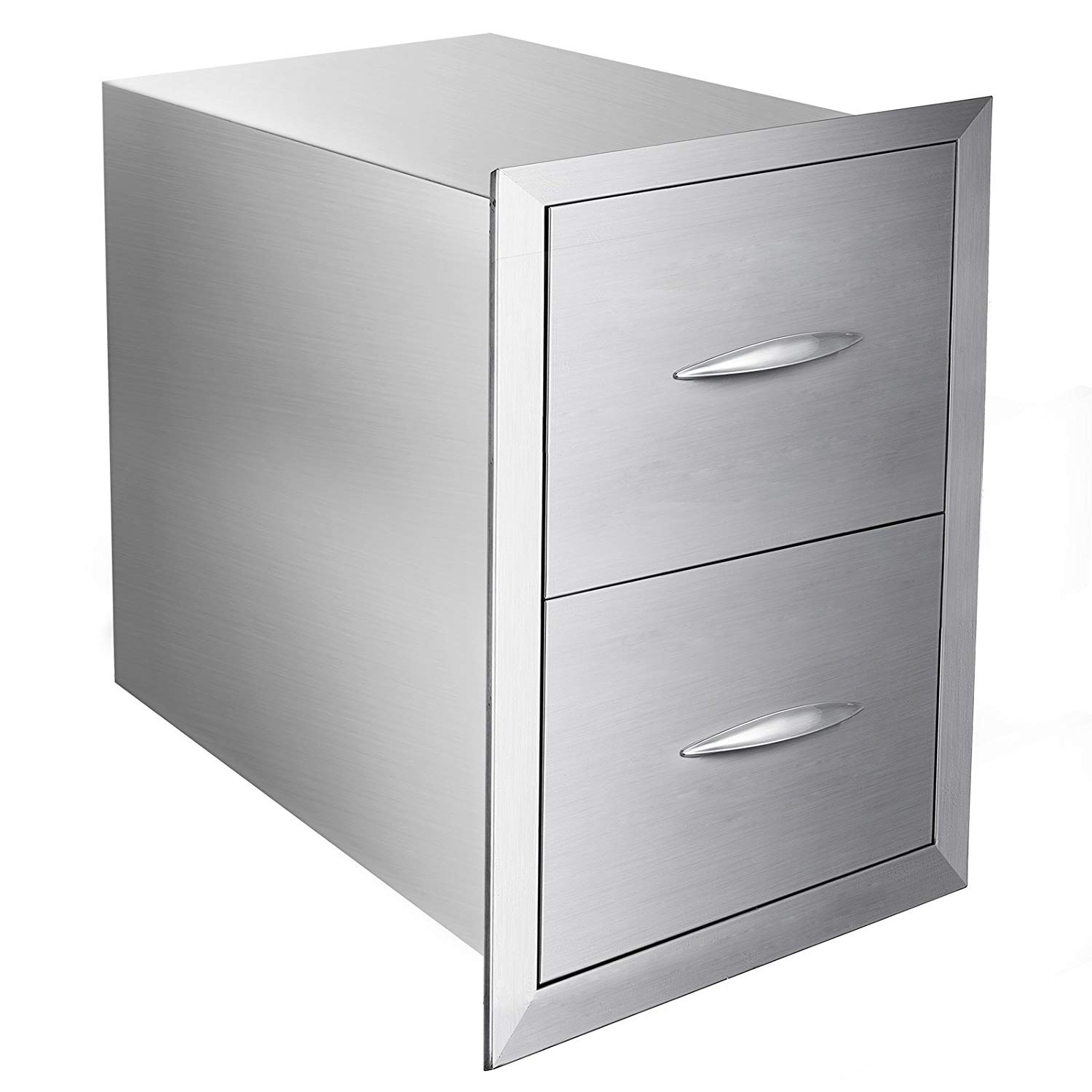 """Mophorn Outdoor kitchen drawer 18""""x15"""" Stainless steel BBQ Island Drawer storage with Chrome Handle Double Access Drawer Flush Mount Sliver Double Access Drawer (24""""x18"""" Double Access Drawer)"""
