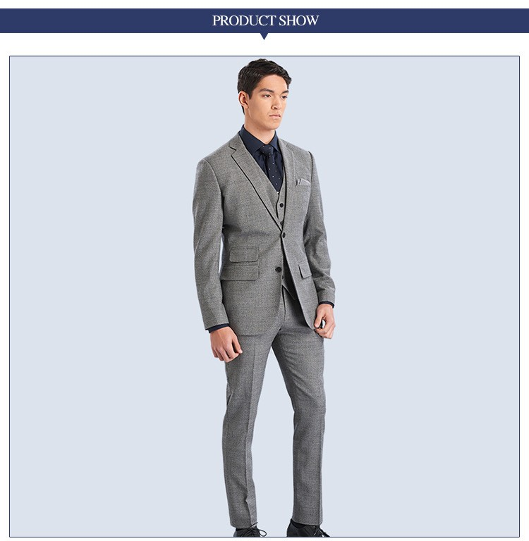 Two Button Men Suit Slim Fit Grey Coat Pant Men Suit - Buy Men ...