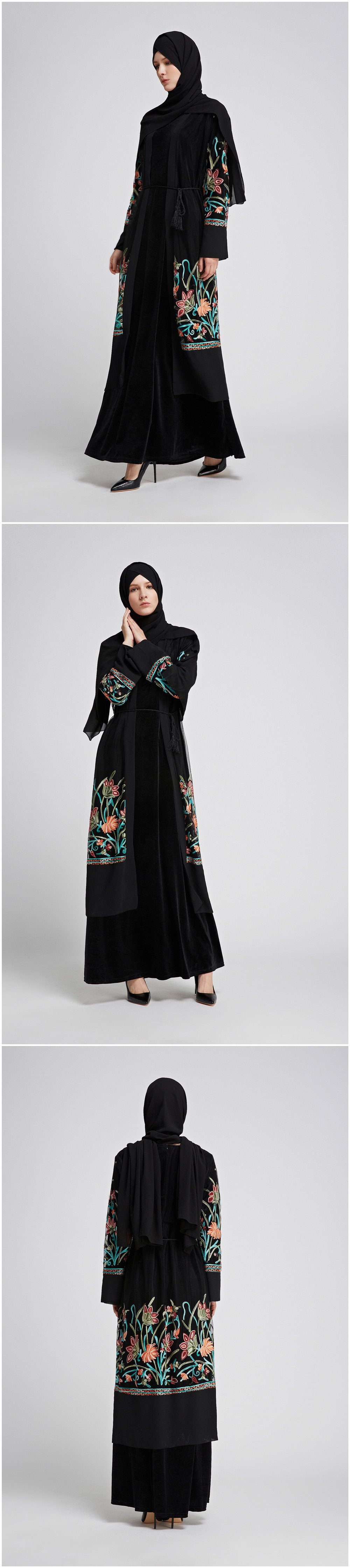 Black Abayas For Women Dubai Coat Muslim Caftan Flowers Embroidery Long Cardigan Bolero Hijab Islamic Clothing Headscarf 2019