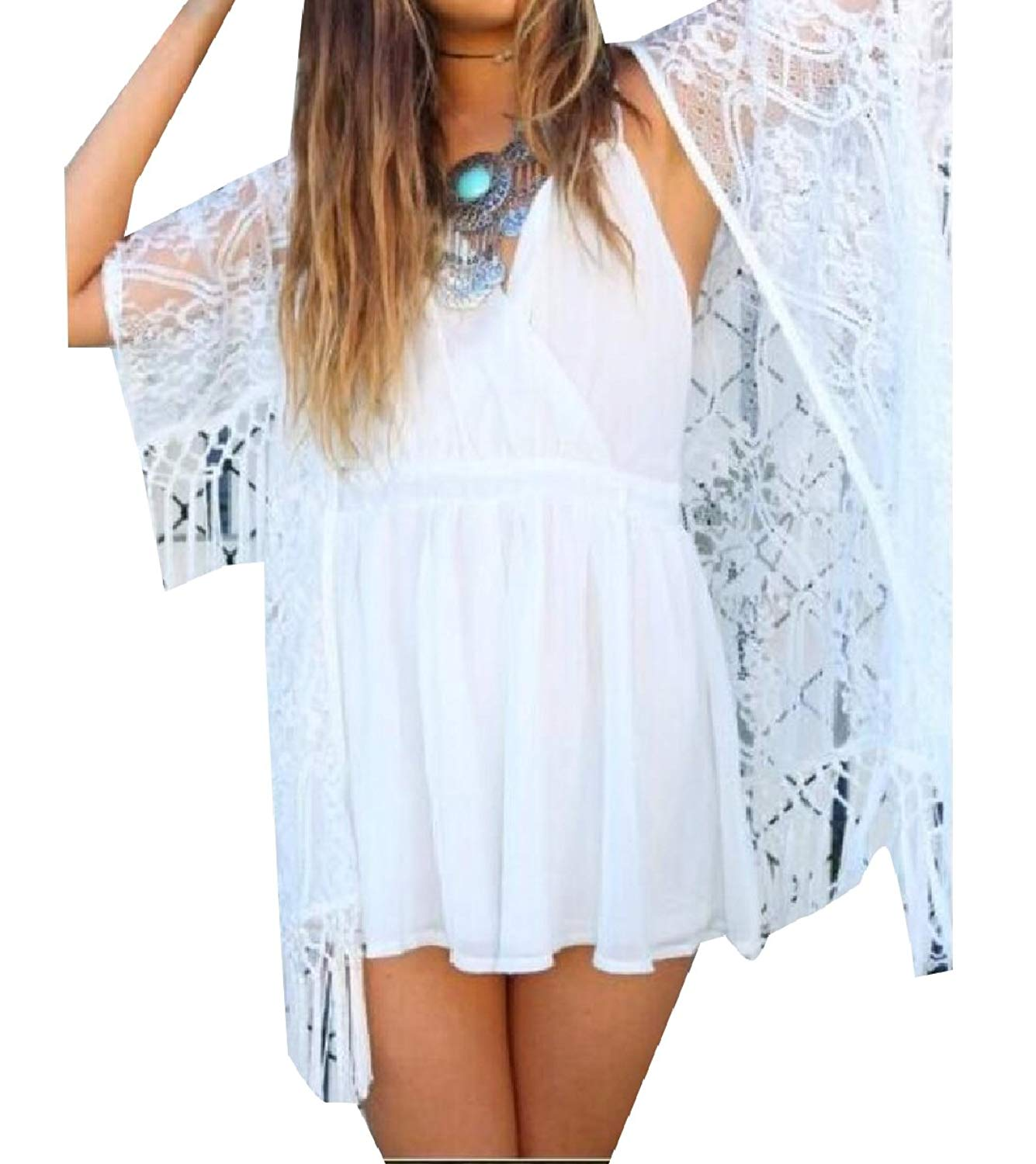 Zimaes-Women Lace Hem Sexy Fringe Hollow Out Solid-Colored Cardigan