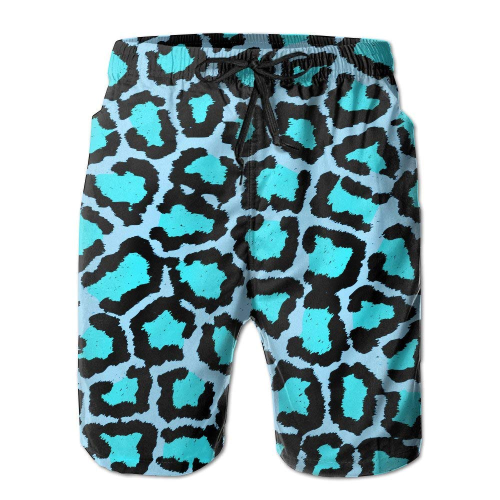 28e5ca81842a Get Quotations · COOA Blue Leopard Print Men Swimming Quick Dry Beachwear  Shorts
