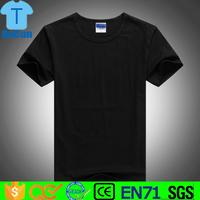 Custom high quality blank men plain print 100% cotton black t shirt